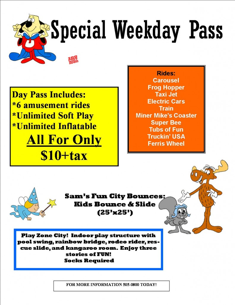 day pass weekday special---
