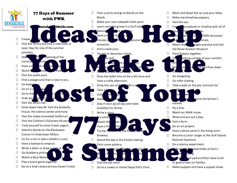 Ideas for Days 1 through 7 of 77 Days of Summer with PWK